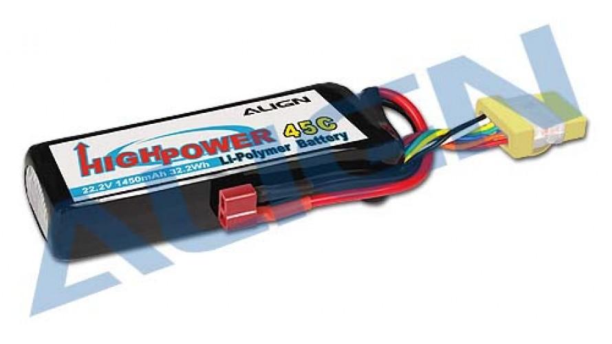 Align T-REX 1450mAh 45C 6S 22.2v Li-Po Battery