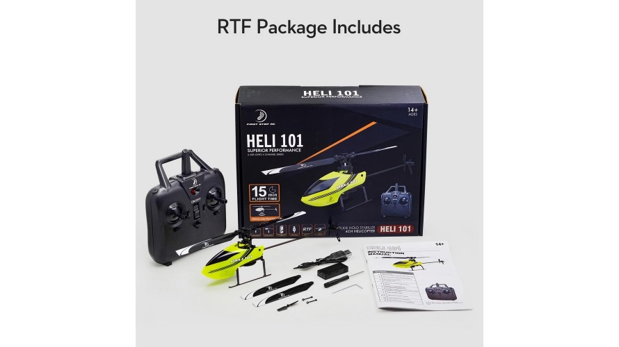 First Step RC Heli 101 RTF Ready to Fly Helicopter Kit - Yellow