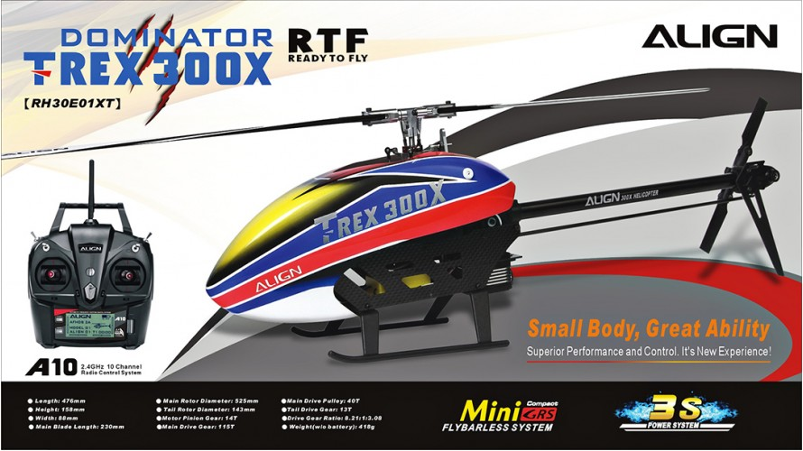 Align T-REX 300X Dominator Super Combo with A10 Ready to Fly RTF RH30E01X