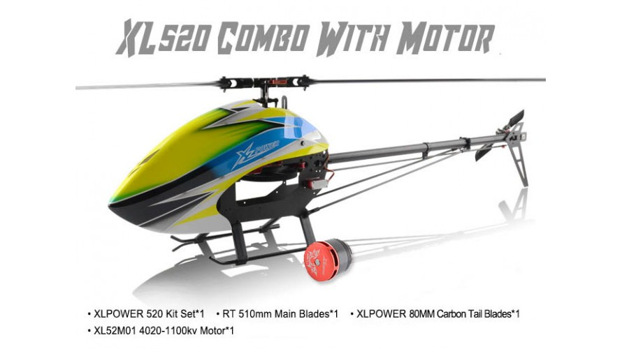 XLPower 520 Kit with Main Blades, Tail Blades, and 4020 Motor