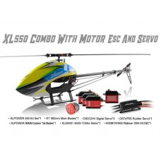 XLPower 550 Kit with Main Blades, Tail Blades, 4020 Motor, Hobbywing 120A ESC, Servos