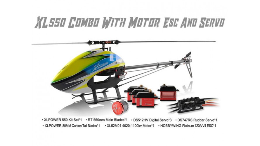 XLPower 550 Kit with Main Blades, Tail Blades, 4020 Motor, Hobbywing 120A ESC, Servos XL55K04 XL55K04