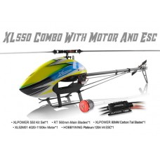 XLPower 550 Kit with Main Blades, Tail Blades, 4020 Motor Hobbywing 120A ESC